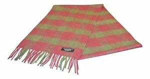 100% Cashmere Scarf - Green/Burgundy Check - Made in Scotland