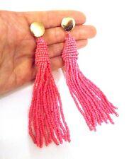 Hot Pink Beaded Tassel Statement Earrings -UK SELLER