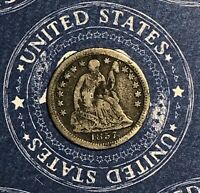 1857-O Seated Silver Half Dime Collector Coin For Collection. Free Shipping