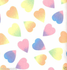 Rainbow Hearts Flannel White FLANNEL Quilt Fabric - 1 Yard