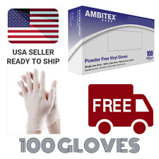 Vinyl Powdered Free Multi-Purpose Gloves, Large, Clear Latex Free - 100 Per Box