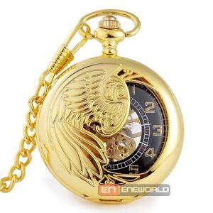 Vintage Luxury Gold Phoenix Wind up Mechanical Pocket Watch Skeleton Steampunk
