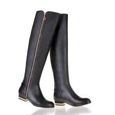 Women's Side Zip Knee High Boots Cuban Heels Black Leather Shoes Size UK 1/EU 33