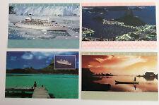 PRINCESS CRUISES POSTCARDS~Lot of 4~ Amazon, Rio, Alaska, South Pacific ~Unused