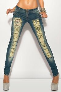 Sexy Koucla Low Rise Distressed Studded  Jeans Size 28 Brand New With Tags