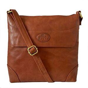 Rowallan Tan Leather Cross Body Shoulder Bag
