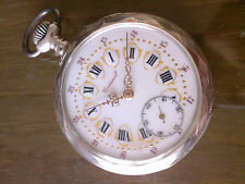 Awesome Croissant silver pocket watch, gold ornate dial  very RARE
