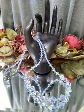 Beautiful Vtg Shimmering AuroraBorealis Blue Crystal Beaded Necklace FREE SHIP