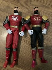 "Pair Of Power Rangers Red Wind Ninja Storm 12"" Action Figure Toy Bandai 2002"