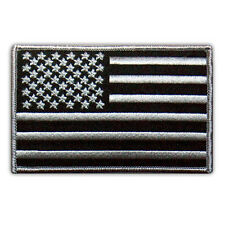 "VEGASBEE® USA FLAG US EMBROIDERED PATCH BLACK-GRAY EMBLEM SIZE M 4"" VELCRO®"