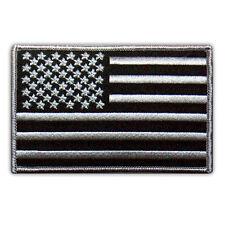 "VEGASBEE® USA FLAG US EMBROIDERED PATCH BLACK-GRAY EMBLEM SIZE M 4"" VELCRO®"