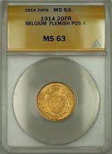 1914 Belgium Flemish Pos. A 20 Fr Francs Gold Coin ANACS MS-63