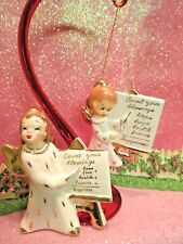 Vtg 1956 Christmas Angel Girl and Count Your Blessings Ornament Set Of Two Yona