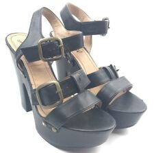 Black Gomax Buckle Sandal With Heel Womens Size 7