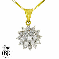 Cluster Yellow Gold Round Fine Diamond Necklaces & Pendants