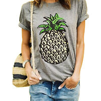 Pineapple T Shirts Pineapple Print Women T-shirt Casual O-neck Short Sleeve Tee