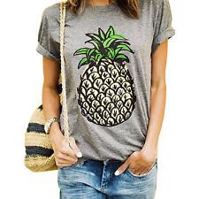 Pineapple T Shirts Pineapple Print Women T-shirt Casual O-neck Short Sleeve Tee