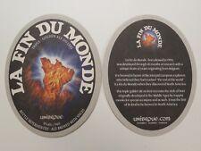 Beer Brewery Coaster ~ UNIBROUE La Fin Du Monde Triple ~ Chambly, Quebec, CANADA