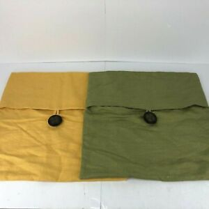 Pottery Barn Pillow Covers Set of two Green Yellow 18x18 100% Linen