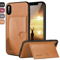 For Apple iPhone XS X Leather Wallet Phone Case Card Holder Stand+Tempered Glass