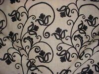 1-3/4Y Kravet 9323 Jet Black Gothic Embroidered Floral Linen Upholstery Fabric