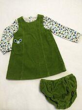 Gymboree Hide And N Seek 3T Green Corduroy Jumper Dress Mushroom Shirt Bloomers