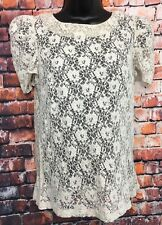 TOPSHOP 10 vgc ivory short sleeve lace tunic party work blouse top back zip