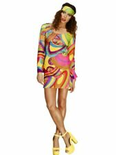 Womens Ladies 70s Flower Power Hippie Psychedelic Fancy Dress Costume Outfit