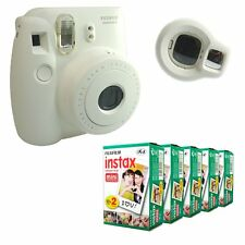 Fuji Instax White Mini 8 Camera Instant Fujifilm Photo + 100 Film Selfie Lens