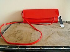 New Womens Ex Dorothy Perkins Red Patent Structured Strap Evening Clutch Bag