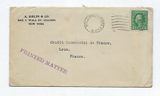 Antique stamp New York Wall Street France Timbre ancien mail printed matter USA