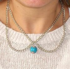 Eye-Catching  Peter Pan COLLAR Necklace with Turquoise Drop