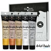 5 x 75ml METALLIC PAINT SET - Global Colours Student Fine Art Acrylic Impasto