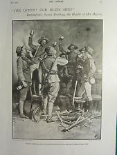 1900 VICTORIAN BOER WAR PRINT ~ REMINGTON'S SCOUTS DRINKING HEALTH TO THE QUEEN
