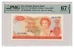 NEW ZEALAND banknote 5 Dollars 1989 PMG grade MS 67 EPQ Superb Gem Uncirculated