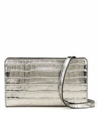Michael Kors Embossed Leather Crossbodies Large Crossbody Clutch (Silver)