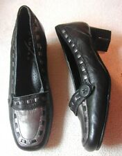 Lunar Ladies Black + Pewter Leather shoes UK 5 EU 38