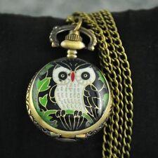 Cool Black Owl Pattern Retro Pocket Watch Pendant Steampunk Necklace