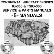 Continental Engine IO-360 & TSIO-360 IO360 SERVICE & PARTS MANUAL -5- MANUALS CD