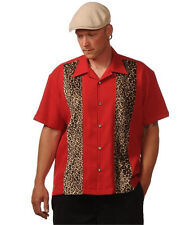 Red Bowling Shirt size XL L M S - Mens Rockabilly Leopard Panel Dice ROCK STEADY