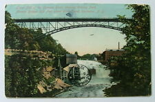 1909 Postcard Lower Falls Genesee River Park Avenue Bridge Rochester Ny #1187n