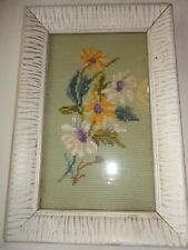 "Vintage Framed Hand Made Needlepoint Floral Picture 8"" x 12"""