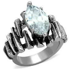 Ladies marquis ring 4 carat solitaire cubic zirconia stainless steel silver 1516