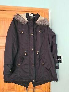 BRAVE SOUL Ladies Black Parka Faux Fur Hooded Warm Winter Coat,Parker Size 22