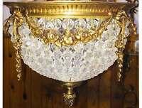 Hand Beaded Antique Replica Crystal Gilded Brass European Flush Mount Chandelier