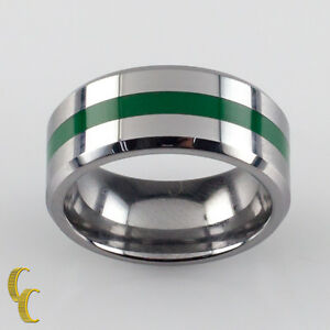 Men's Tungsten Carbide Band Ring with Green Stripe Size 5