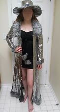 Sexy mama Halloween costume dress sequin shiny glitter coat hat cape