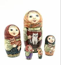 Russian Nesting Dolls Girl w/ Cats Hand Carved Hand Painted UNIQUE ArtWork