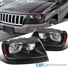 For 99-04 Jeep Grand Cherokee Black Headlights Signal Lights Corner Lamps Pair