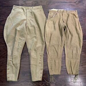 Vintage Men's 1910s 1920s WWI Era US Army Jodhpurs Breeches Pants Set Of Two